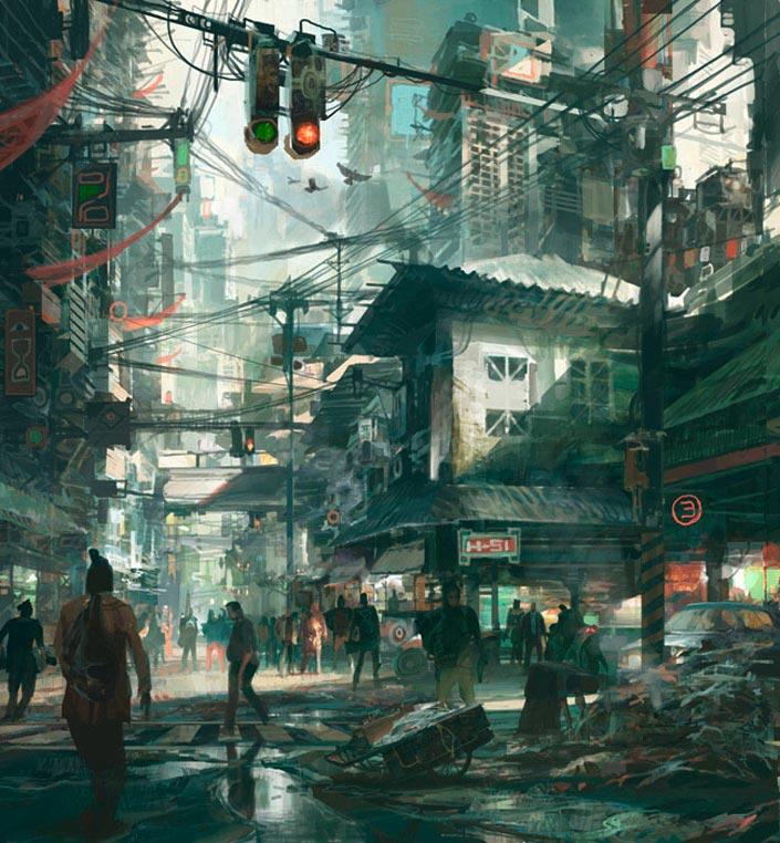 Le graphiste américain affectionne les villes décrépites aux cieux surpeuplés.