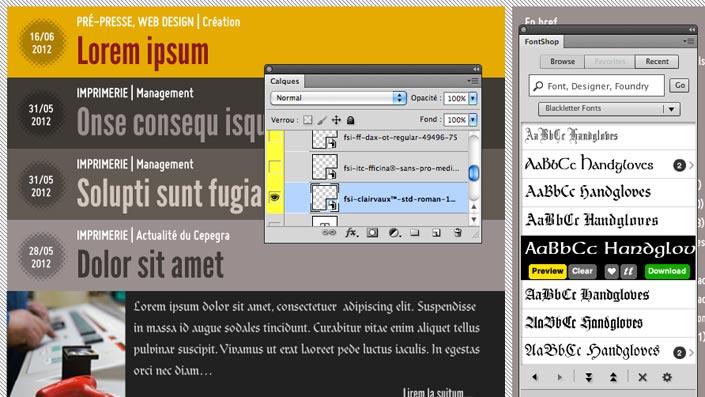 Avec FontShop, le choix de polices est énorme et tester les options les plus improbables devient facile.
