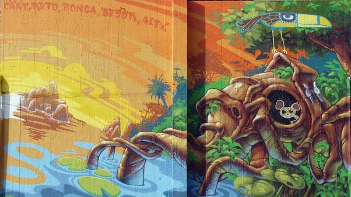 Inspiration exotique pour la fresque de la place des Wallons.