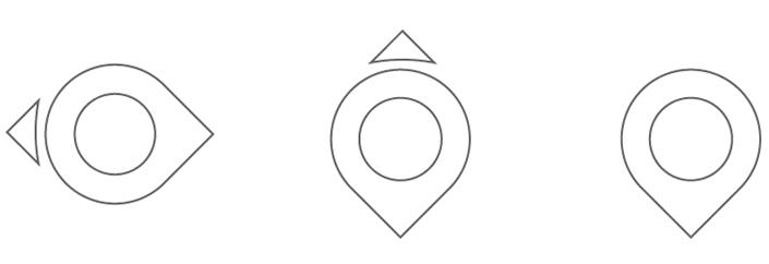 La forme de départ pouvait se prêter à diverses déclinaisons, évoquant à la fois un oeil, une boussole ou le traditionnel pointeur… mais le logo y perdait aussi une partie de sa signification.
