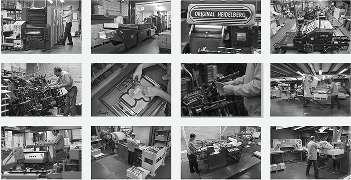 Photos représentant des équipements des ateliers d'impression et de finition.