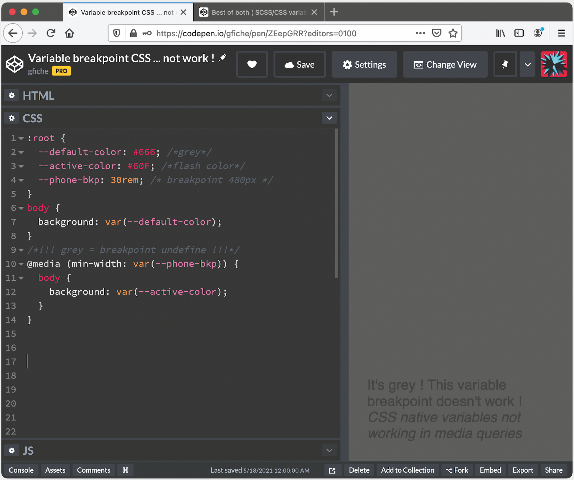 Breakpoint CSS Variables